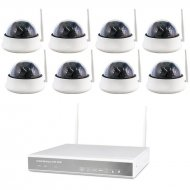 8-channel WLAN DVR 638-2 AMGoCam P Video surveillance (2TB hard disk) with 8 x 850nm HD dome camera