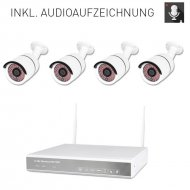 Audio 4-channel WLAN DVR 634A-2 AMGoCam AP video surveillance (1TB hard disk) with 4 x 850nm HD wall camera w. microphone