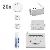 Wireless smoke detector set with wireless internal siren fire detection system 20