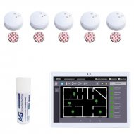 SmokeTab fire alarm panel with wireless smoke detector 5 x wireless smoke detector