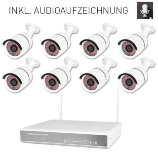 8-channel WLAN DVR 638-2 AMGoCam P Video surveillance (2TB hard disk) with 8 x 850nm HD wall camera in metal housing