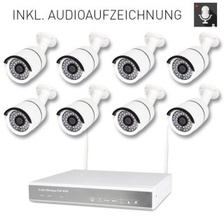 8-channel wireless DVR 638-2 AMGoCam P video surveillance (2TB hard drive) with 8 x 940nm HD wall camera
