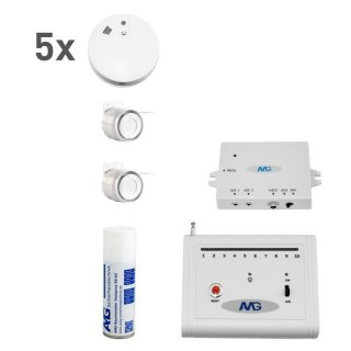 Wireless smoke detector set with wireless indoor siren Fire alarm system