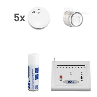 Wireless smoke detector set with cable interior siren fire alarm system 05