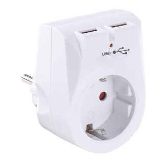Socket with 2x USB charging ports